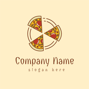 Brown Circle and Pizza logo design