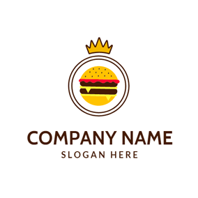 Brown Crown and Burger logo design