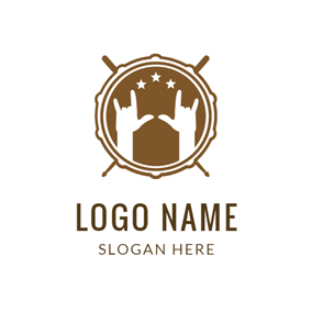 Brown Drum and Rock logo design