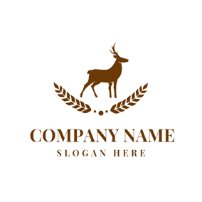 Brown Elk and Leaf logo design
