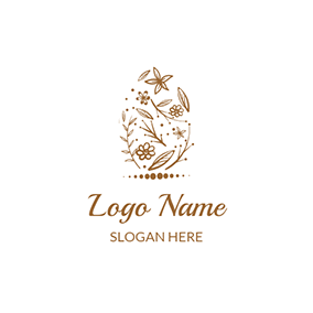 Brown Flower and Leaf Icon logo design