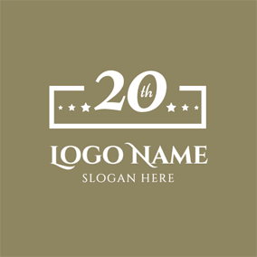 Brown Rectangle and 20th Anniversary logo design