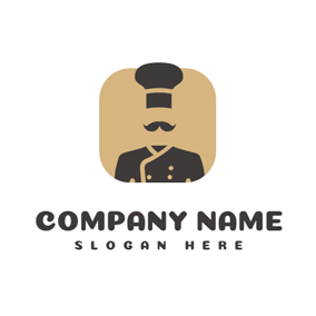 Brown Square and Black Chef Uniform logo design