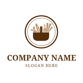 Brown Stewpot and Carrot logo design