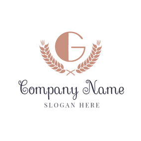 Brown Wheat and Letter G logo design