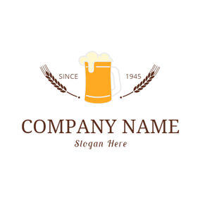 Brown Wheat and Orange Beer Glass logo design