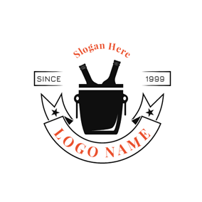 Bucket and Beer Bottle logo design