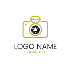 Camera Outline and Diamond Ring logo design