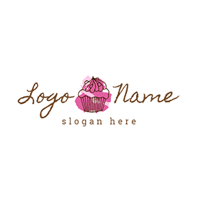 Chocolate and Red Cupcake logo design