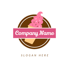 Chocolate Circle and Pink Ice Cream logo design