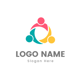 Circle and Abstract Colorful Person logo design
