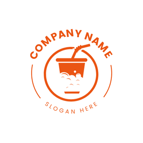 Circle and Soda Drinking Cup logo design
