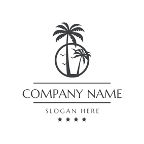 Coconut Tree and Tropical Resort logo design