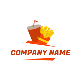 Cola and Fried Chips Icon logo design