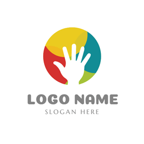 Colorful Ball and White Hand logo design