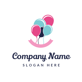 Colorful Balloon and Pink Banner logo design