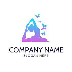 Colorful Butterfly and Exercise Woman logo design