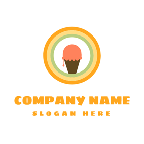 Colorful Circle and Ice Cream logo design