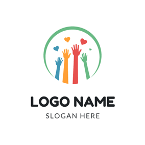 Colorful Hand and Warm Community logo design