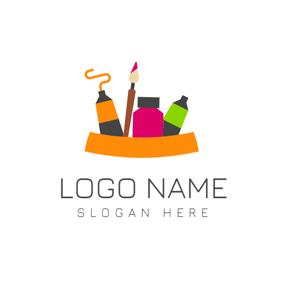 Colorful Paintbrush and Pigment logo design