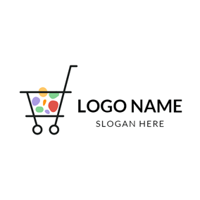 Colorful Pattern and Black Trolley logo design