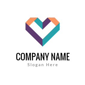 Colorful Stripe Heart logo design