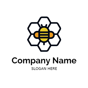 Comb and Bee Icon logo design