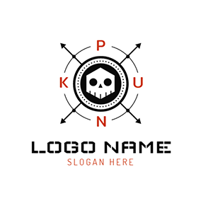 Cross Arrow and Skull Punk logo design