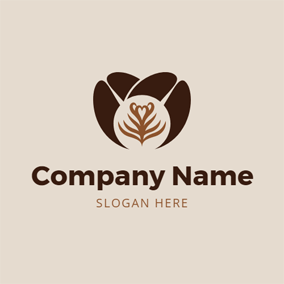 Cross Brown Coffee Bean logo design