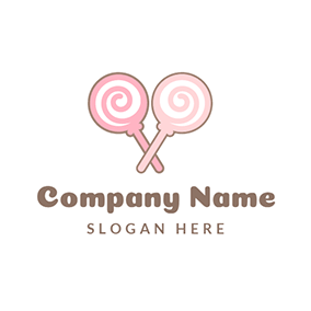Cross White and Pink Lollipop logo design