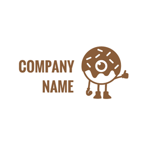 Cute Cartoon Doughnut logo design