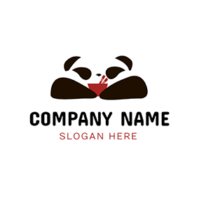 Cute Panda and Chinese Food logo design