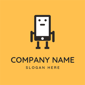 Cute Robot and Smartphone logo design