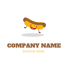Cute Yellow Hot Dog logo design