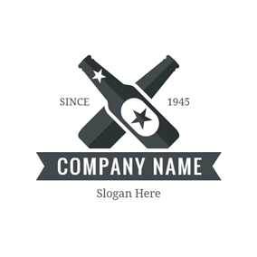 Double Blue Beer Bottles logo design