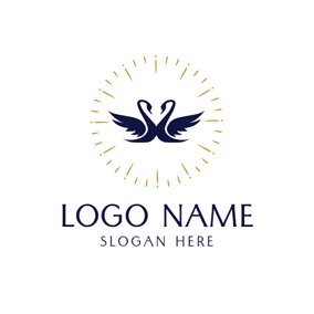 Double Swan and Love Wedding logo design