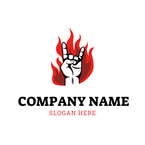 Fire and Rock Gesture logo design