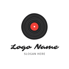 Flat Black Retro Vinyl logo design
