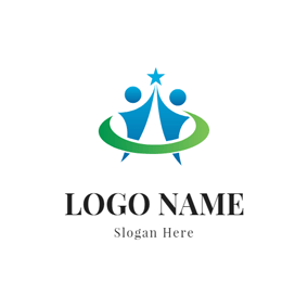 Flat Circle and Abstract Person logo design