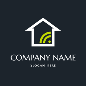 Flat House and Wifi logo design