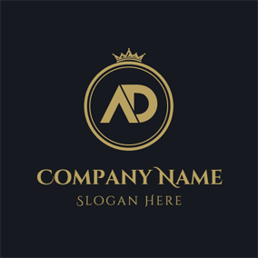 Golden Crown and Circle logo design