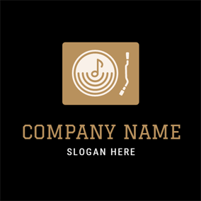 Golden Note and White CD logo design