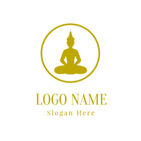 Golden Sitting Buddha logo design