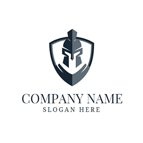 Gray Shield and Soldier logo design