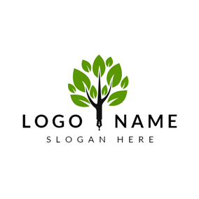 Green and Black Wisdom Tree logo design