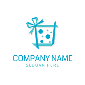 Green and Blue Birthday Present logo design