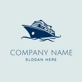 Green and Blue Steamship logo design