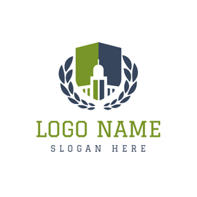 Green and Blue Symmetric Graph logo design