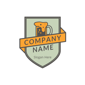 Green and Orange Beer logo design