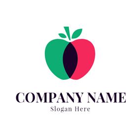 Green and Red Apple logo design